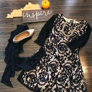 Adrianna Papell dress and sheer black scarf